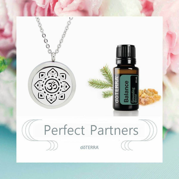 doTERRA Balance Sanskrit Om Meditate Design Aromatherapy Diffuser Necklace - Gift Box