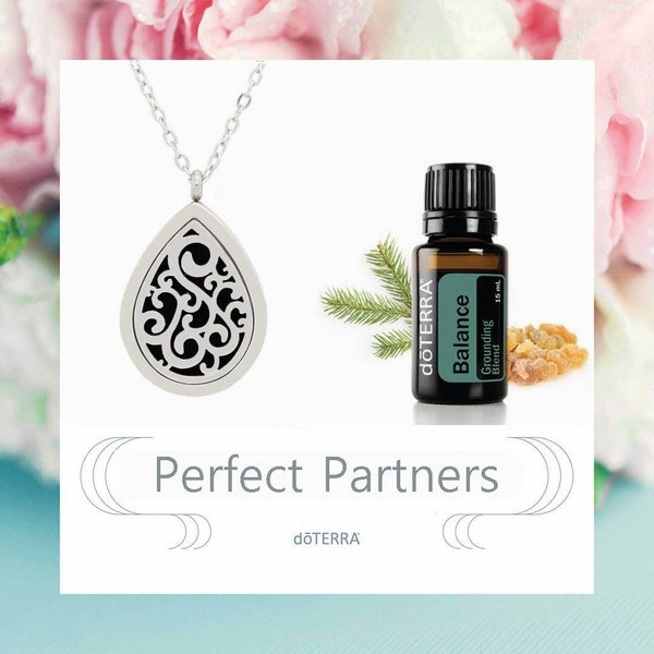 doTERRA Balance Teardrop Design Aromatherapy Diffuser Necklace - Gift Box