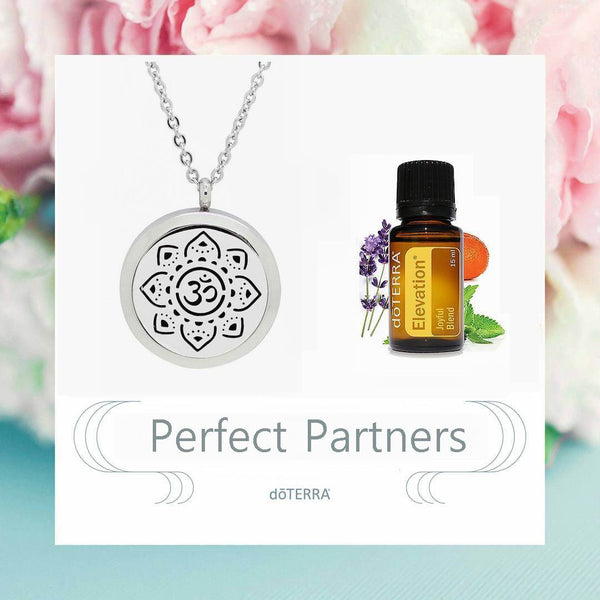 doTERRA Elevation Sanskrit Om Meditate Design Aromatherapy Diffuser Necklace - Gift Box