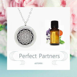doTERRA Elevation Lotus Flower Mandala Design Aromatherapy Diffuser Necklace - Gift Box