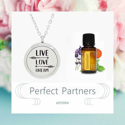 doTERRA Elevation Live, Love and Dream Design Aromatherapy Diffuser Necklace - Gift Box