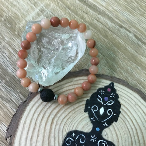 Kid's Pink Aventurine and Lava Stone Aroma Diffuser Bracelet - Buy One, Get One 1/2 Price