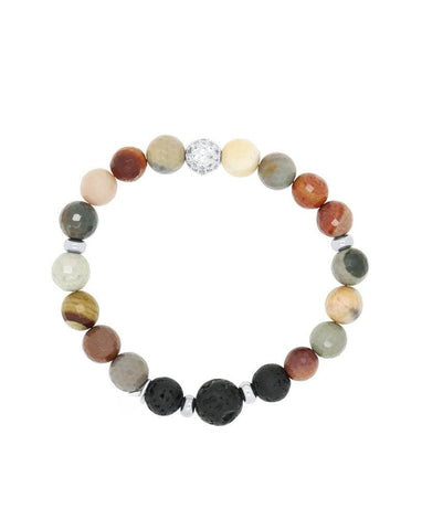 Womans Polychrome Jasper and Lava Aromatherapy Diffuser Bracelet