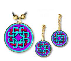 Celtic Knot Protection Pendant and Earrings - handcrafted by Hermit Studios