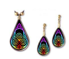 Celtic Knot Rainbow Aura Pendant and Earrings - handcrafted by Hermit Studios