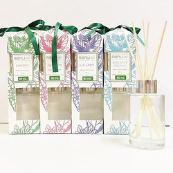 Mini Essential Oil Reed Diffusers Breathe Freely, Energy, Lullaby and Passion 80ml - Renu Aromatherapy