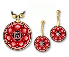 Root Chakra Sanskrit Mandala Pendant and Earrings - handcrafted by Hermit Studios