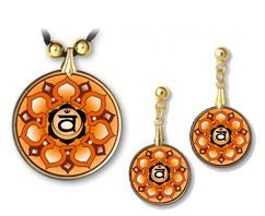 Sacral Chakra Sanskrit Mandala Pendant and Earrings - handcrafted by Hermit Studios
