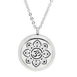Sanskrit Om Meditate Design Aromatherapy Diffuser Necklace - Free Chain