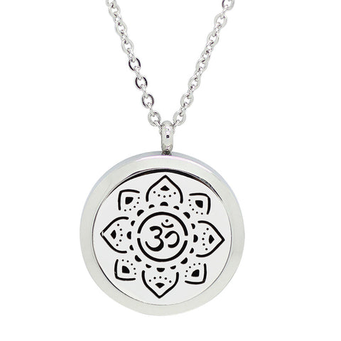 Sanskrit Om Meditate Design Aromatherapy Diffuser Necklace - Silver 30mm - Free Chain