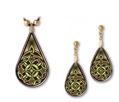 Celtic Knot Strength Pendant and Earrings - handcrafted by Hermit Studios