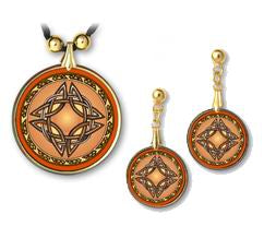 Celtic Knot Sun Pendant and Earrings - handcrafted by Hermit Studios