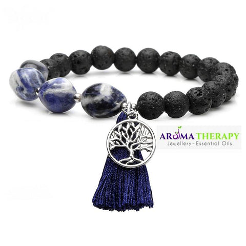 Throat Chakra Tumbled Stone and Lava Healing Stone Diffuser Bracelet -LIMITED EDITION