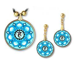 Throat Chakra Sanskrit Mandala Pendant and Earrings - handcrafted by Hermit Studios