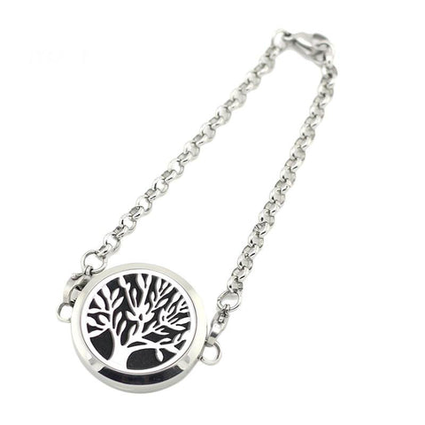 Tree of Life Design Aromatherapy Diffuser Bracelet - Silver Tone