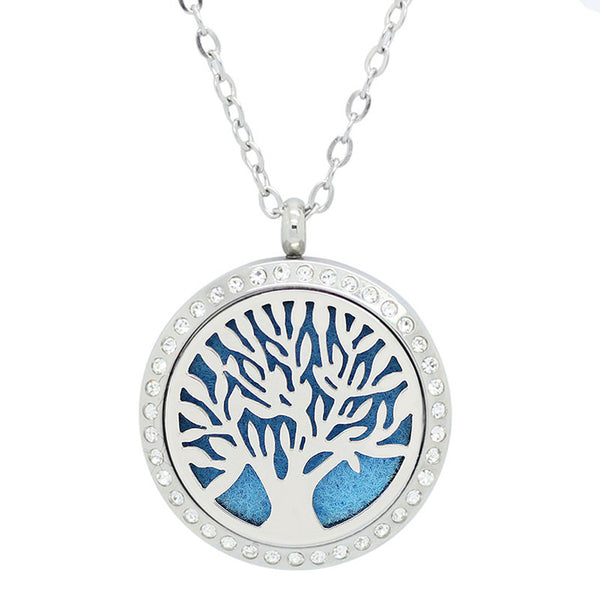 Tree of Life with Crystals Design Aromatherapy Diffuser Necklace - Free Chain