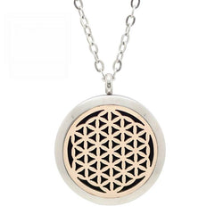Flower of Life Two Tone Design Aromatherapy Diffuser Necklace - Free Chain