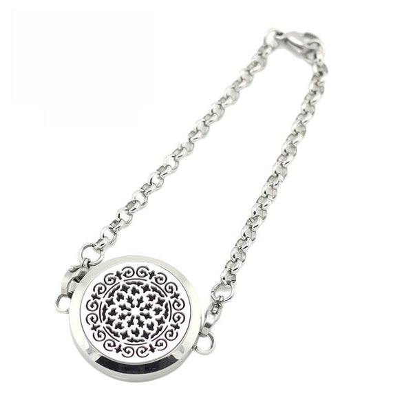 Whimsical Design Aromatherapy Diffuser Bracelet - Silver Tone