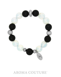 Black Onyx and Opalite Statement Lava Diffuser Bracelet - Aroma Couture™