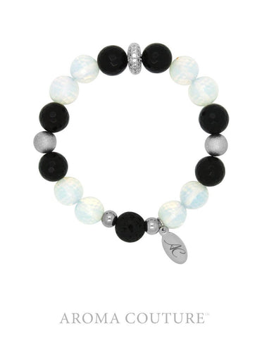 Ladies Black Onyx and Opalite Statement Lava Aroma Diffuser Bracelet handmade by Aroma Couture