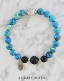 Ocean Blue Jasper Strength and Renewal Lava Diffuser Bracelet by Aroma Couture