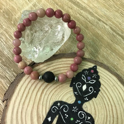 Kid's Rhodochrosite and Lava Stone Aroma Diffuser Bracelet - Buy One, Get One 1/2 Price