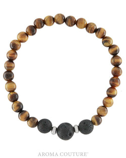 Gents Tiger's Eye and Lava Diffuser Bracelet by Aroma Couture