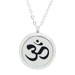 Sanskrit Om Design with Crystals Aromatherapy Diffuser Necklace - Free Chain