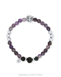 Owl Amethyst and Hematite Lava Diffuser Bracelet - Aroma Couture in Australia