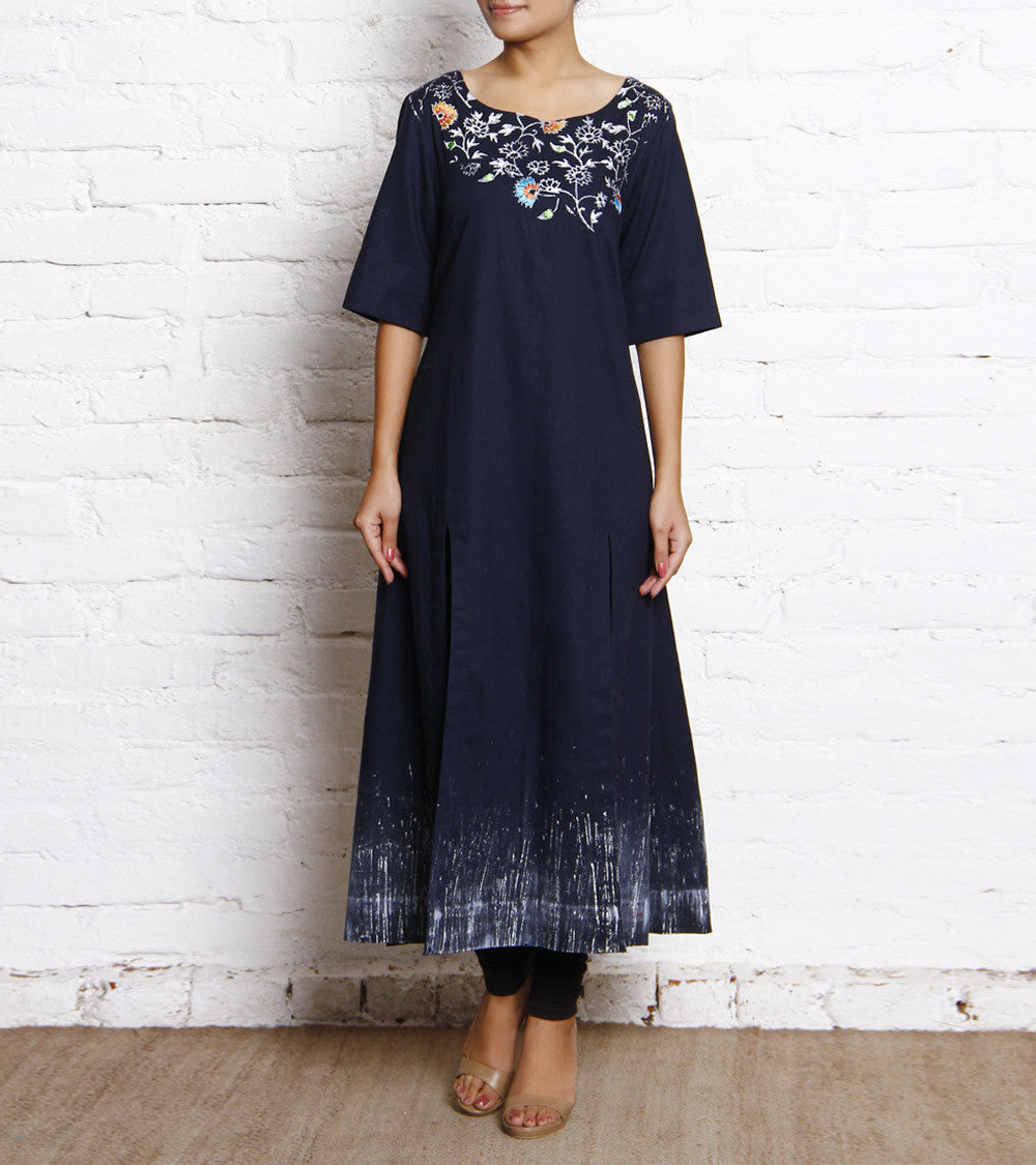 Dark Blue Block Printed Linen Dress With Silk Thread Embroidery