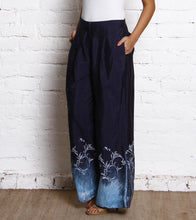 Dark Blue Block Printed Linen Palazzos