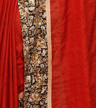 Dark Rust Kalamkari Kota Silk Saree