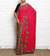 Pink Kalamkari Mulmul & Cotton Saree