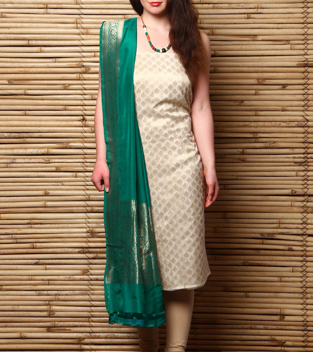 Beige & Green Embroidered Georgette Salwar Kameez