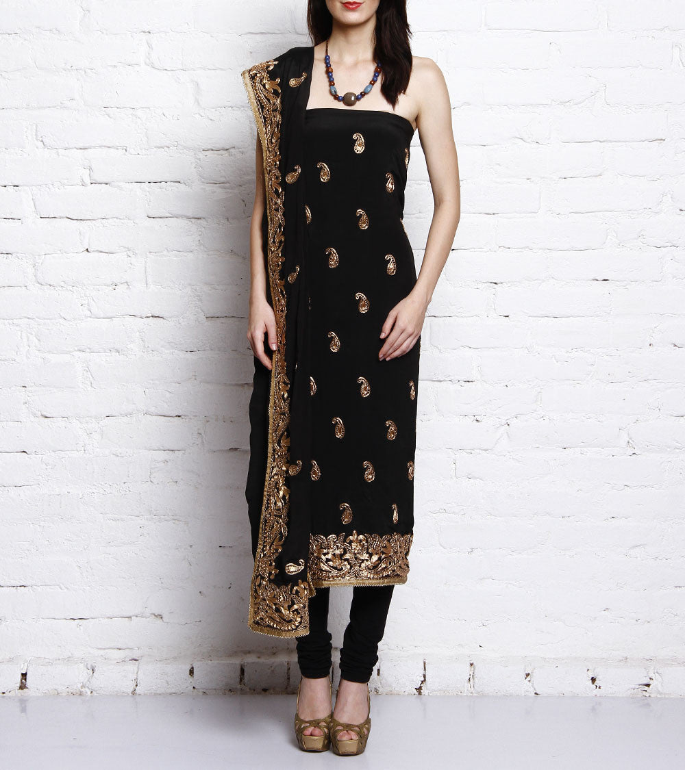 Black Embroidered Crepe Salwar Kameez