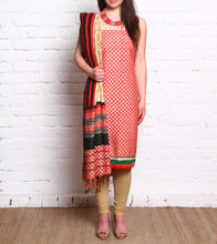 Red Embroidered Pashmina Blend Salwar Kameez