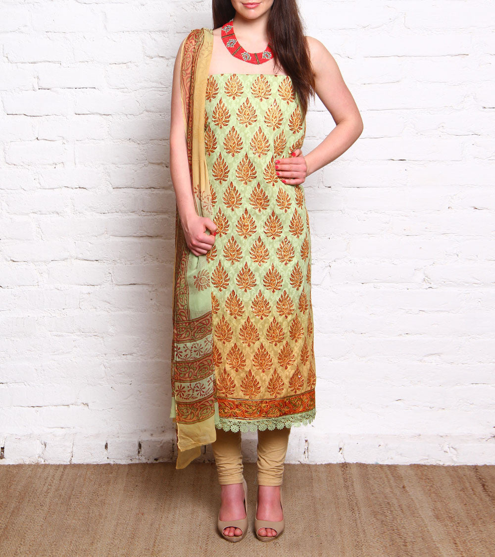 Yellow Embroidered Cotton Salwar Kameez