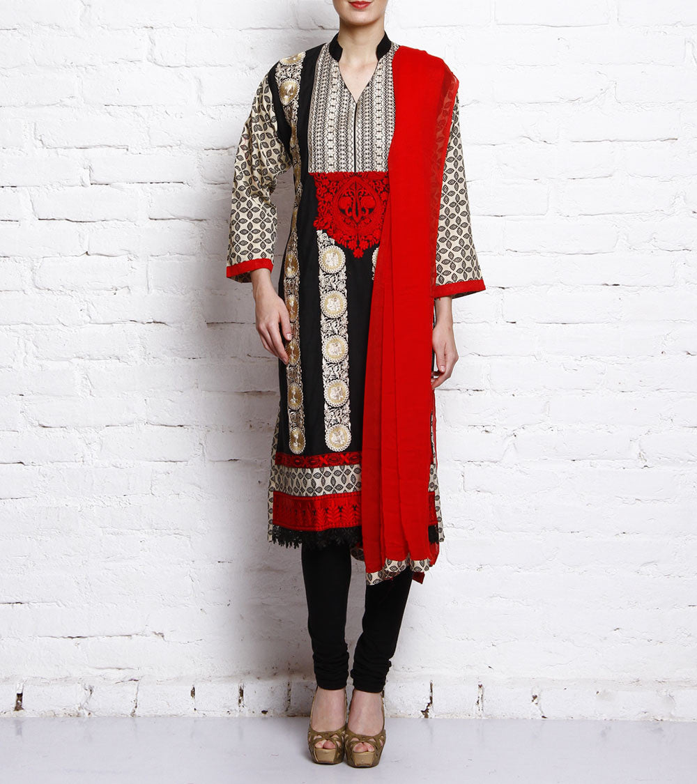 Red Embroidered Cotton Salwar Kameez