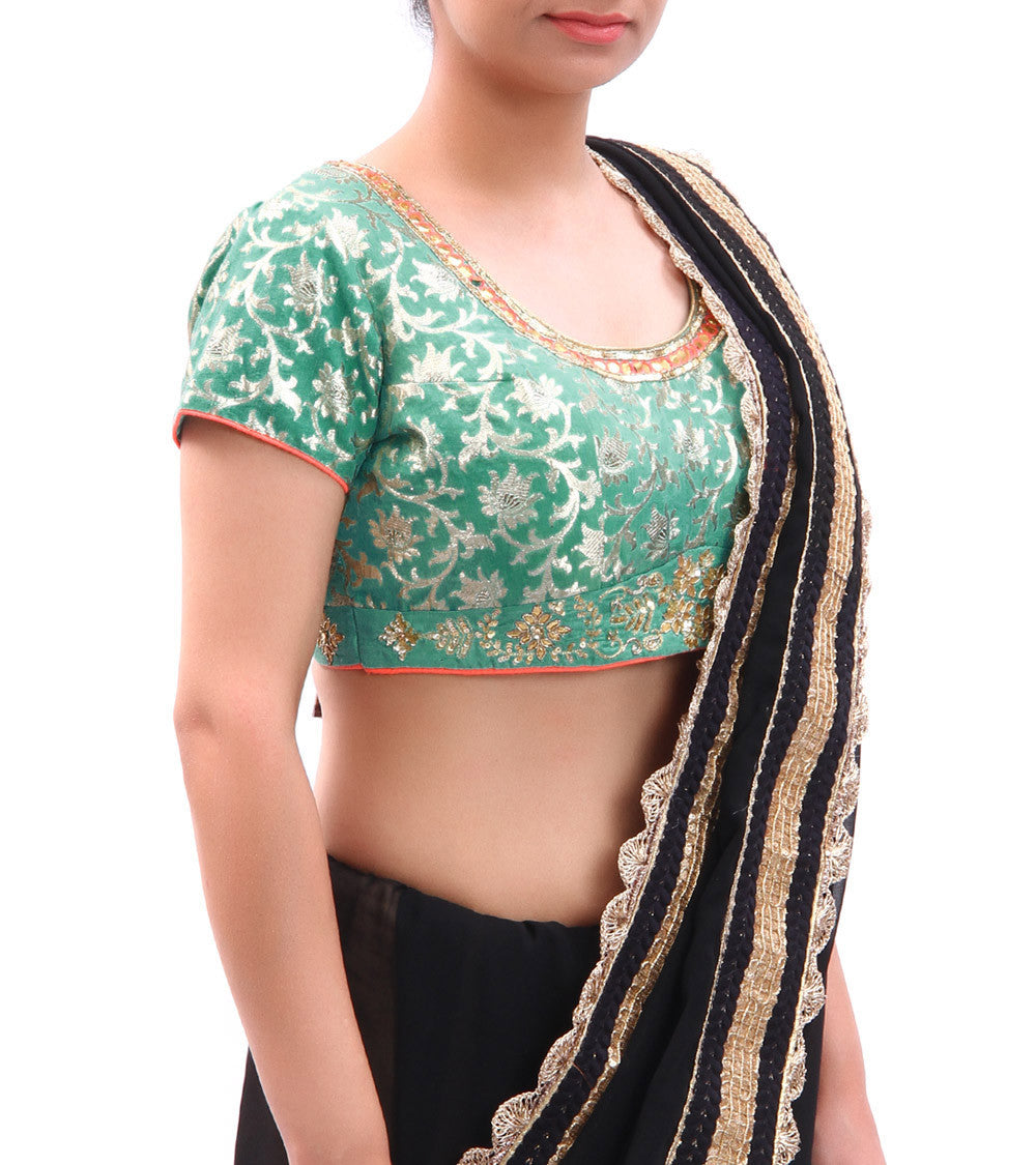 Mint Green Embroidered Chanderi Blouse