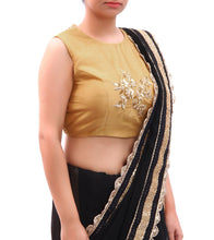 Gold Embroidered Cotton Silk Blouse