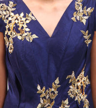 Blue Embroidered Dupion Silk Gown