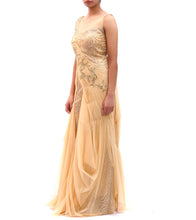 Beige Embroidered Net Gown