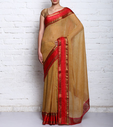 Beige & Red Pure Georgette Printed Saree