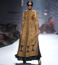 Mustard Silk Blend Embellished Jacket And Skirt