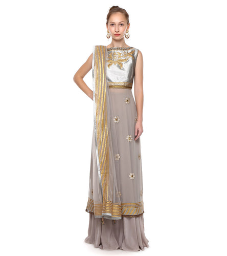 Grey Georgette Embroidered Kurta Set