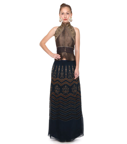 Blue & Gold Georgette Embroidered & Printed Top With Skirt