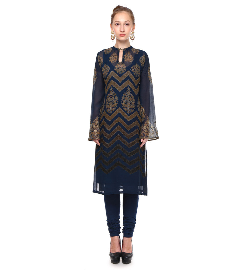 Blue & Gold Georgette Embroidered & Printed Kurta Set