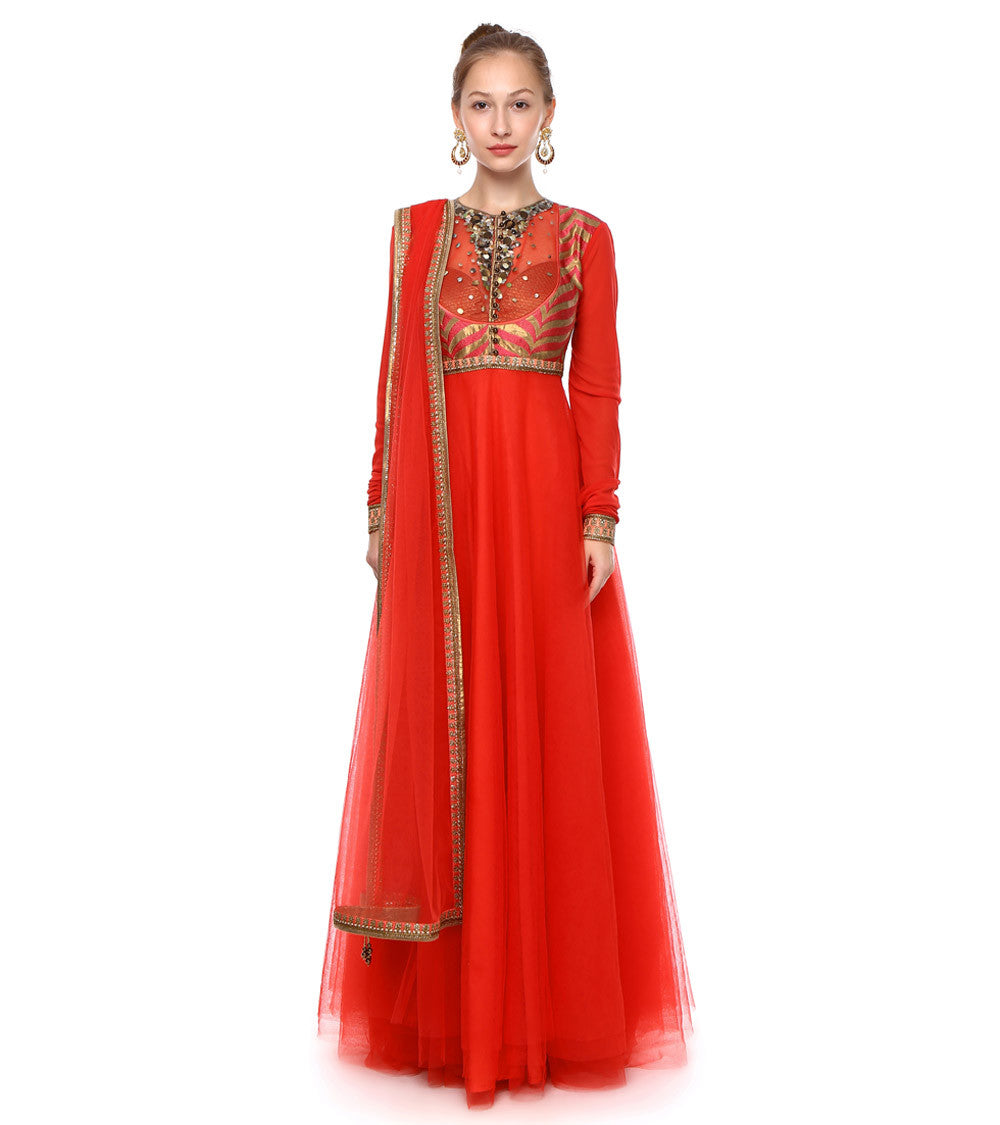 Red Art Silk Embroidered Anarkali Suit