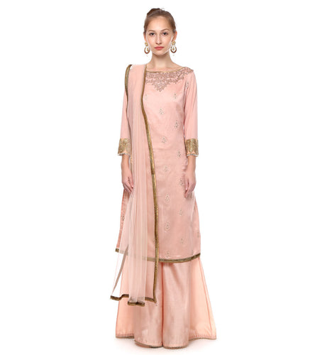 Pink Chanderi Embroidered Kurta With Sharara
