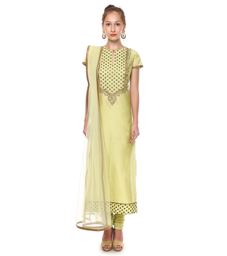 Mint Green Chanderi Embroidered Churidar Suit